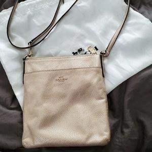 Coach Gold Pebbled Leather Messenger Crossbody Bag